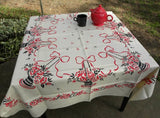 MWT Vintage Broderie Red and Black Bows and Baskets Tablecloth - The Pink Rose Cottage