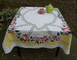 "Vintage Simtex ""Symphony"" Lily Tiger Lilies Tablecloth - The Pink Rose Cottage"