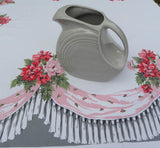 "Vintage Simtex ""Swag"" and Pink Carnations Tablecloth - The Pink Rose Cottage"