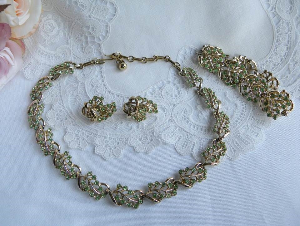 Vintage Coro Green Rhinestone Necklace Bracelet And