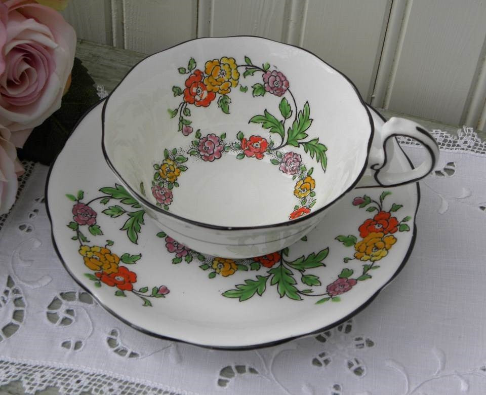 Vintage Royal Albert Bognor Black Trim Teacup and Saucer - The Pink Rose Cottage