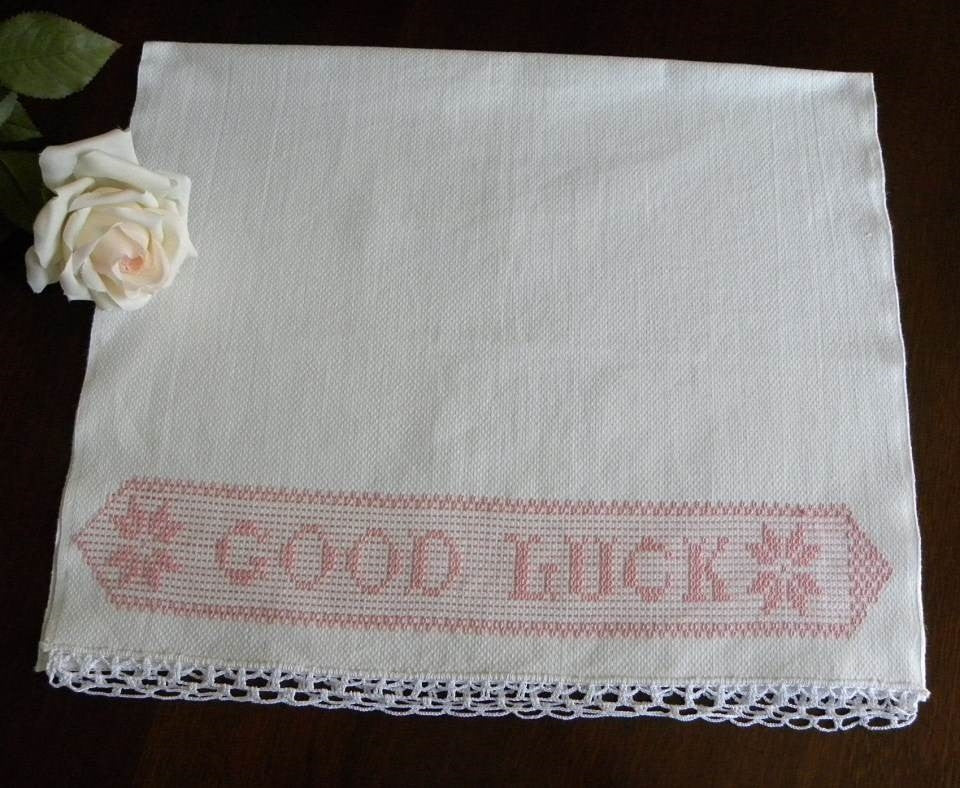 Vintage Good Luck Pink Embroidered Huck Towel - The Pink Rose Cottage