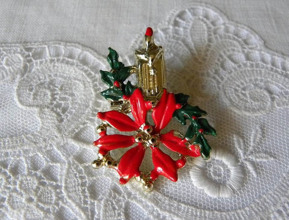 Vintage Enameled Christmas Poinsettia Candle Pin Brooch - The Pink Rose Cottage