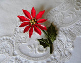 Vintage Enameled Christmas Poinsettia  Pin Brooch - The Pink Rose Cottage