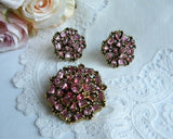 Vintage 1954 Hollycraft Pink Rhinestone Brooch Pin Earrings Set - The Pink Rose Cottage