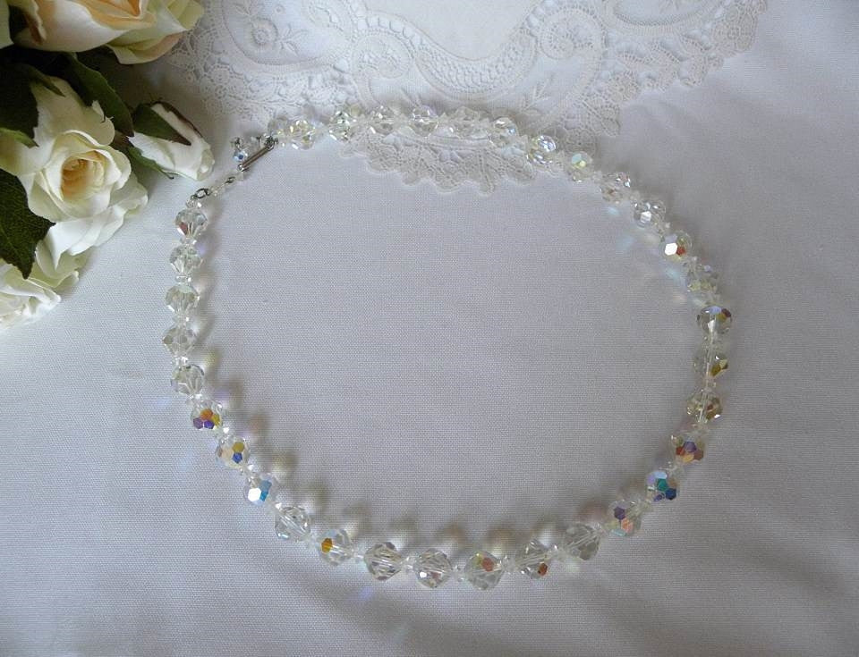 Vintage Sparkling Glass Crystal Necklace - The Pink Rose Cottage