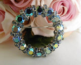 Vintage Blue Aurora Borealis Rhinestones Pin and Earring Set - The Pink Rose Cottage