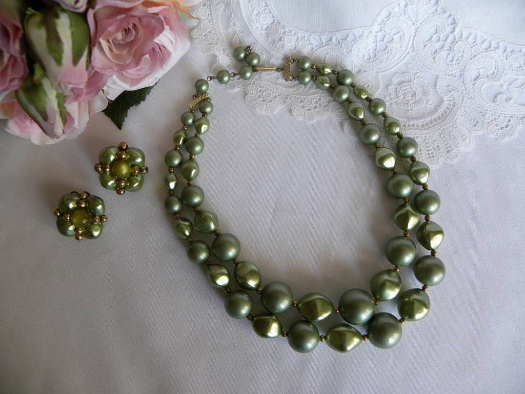 Vintage Green Double Strand Beaded Necklace and Earrings - The Pink Rose Cottage