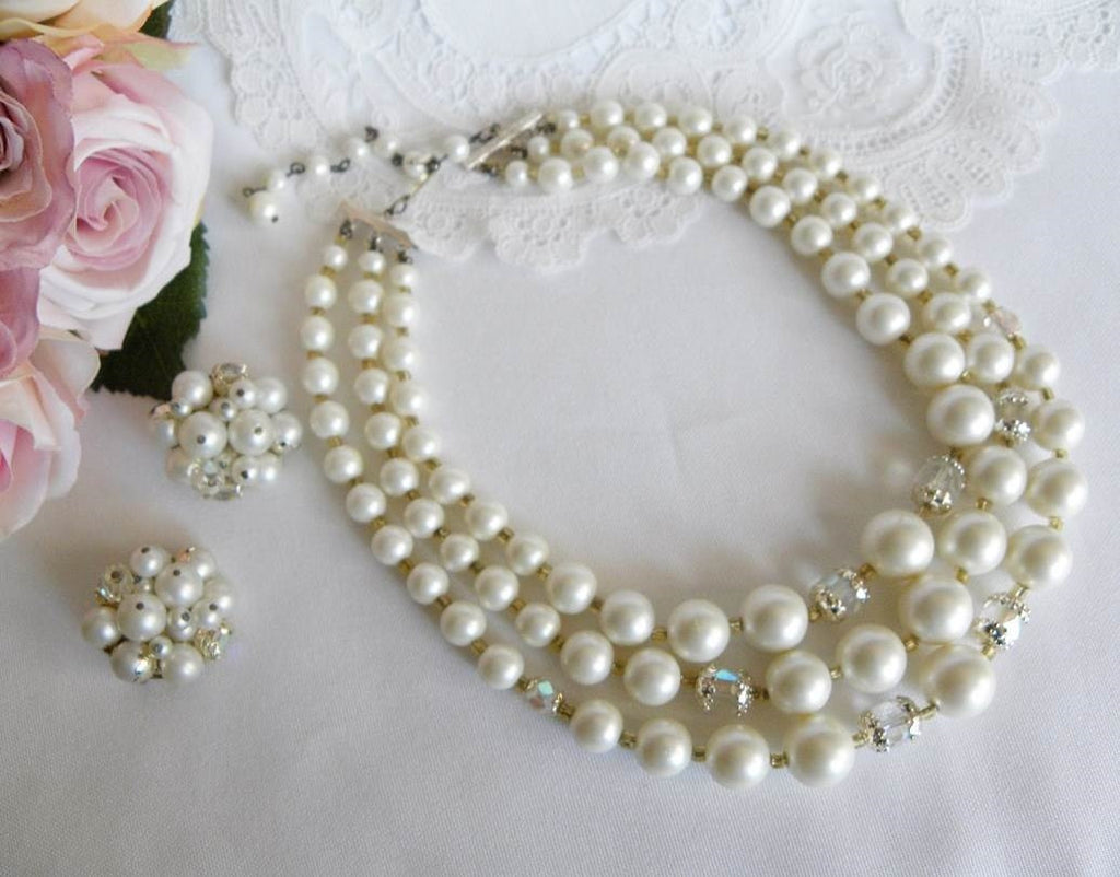 Vintage White Pearl and Crystal Beaded Necklace and Earrings - The Pink Rose Cottage