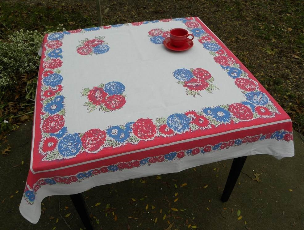 Vintage Red and Blue Mums and Zinnia Tablecloth - The Pink Rose Cottage