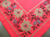 Vintage Large Red Christmas Tablecloth with  Poinsettia and Pinecones - The Pink Rose Cottage