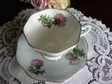 "Vintage EB Foley ""Glencarry Thistle"" on Blue Teacup and Saucer - The Pink Rose Cottage"