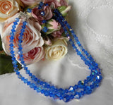 Vintage Medium Blue Sparkling Glass Crystal Double Strand Necklace - The Pink Rose Cottage