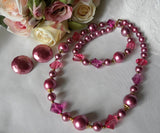 Vintage Pink Pearl and Crystal Necklace and Earrings - The Pink Rose Cottage