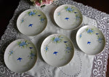 Vintage Hand Painted Dessert Plates with Forget Me Nots and Bluebirds - The Pink Rose Cottage