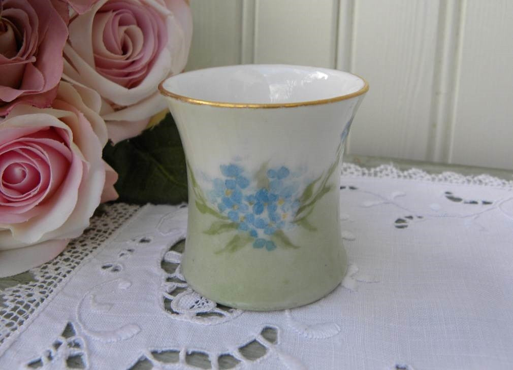 Vintage Hand Painted Blue Forget Me Nots Toothpick Holder - The Pink Rose Cottage