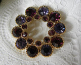 Vintage Purple Amethyst Rhinestone Pin Brooch - The Pink Rose Cottage