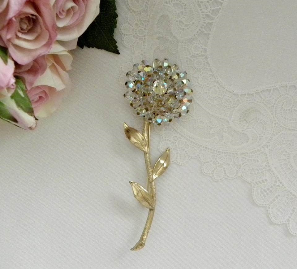 Vintage Aurora Borealis Glass Crystal Beaded Flower Pin Brooch - The Pink Rose Cottage