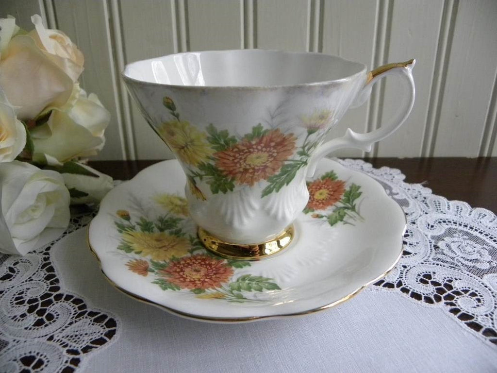 Vintage Royal Albert Friendship Series Chrysanthemum Teacup and Saucer - The Pink Rose Cottage