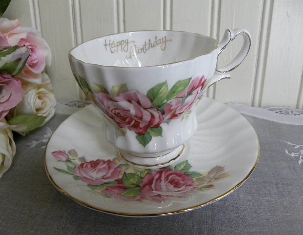 Vintage Queen Anne Pink Roses Happy Birthday Teacup and Saucer - The Pink Rose Cottage