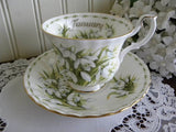 Royal Albert Flower of the Month January Snowdrops Teacup and Saucer - The Pink Rose Cottage