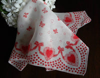 Vintage Hearts and Bows Valentine's Handkerchief - The Pink Rose Cottage