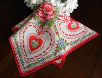 Vintage Valentine's Hearts and Pink Roses Handkerchief - The Pink Rose Cottage