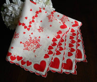 Vintage Valentine's Rose Bouquet and Hearts Handkerchief - The Pink Rose Cottage