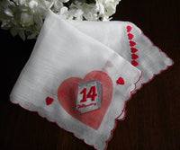 Vintage Valentine's Day February 14th Calendar Handkerchief - The Pink Rose Cottage