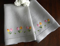 Vintage Embroidered Pink and Yellow Tulip Linen Guest Towels - The Pink Rose Cottage
