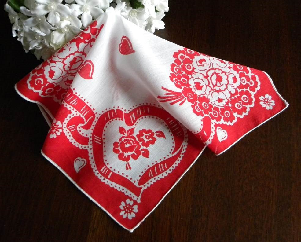 Vintage Valentine's Day Ribbon Hearts and Flower Bouquet Handkerchief - The Pink Rose Cottage