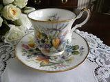 Vintage Queen's Spring Flowers Teacup and Saucer - The Pink Rose Cottage