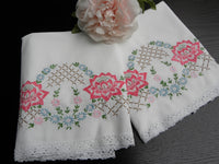 Vintage Embroidered Pink Water Lilies and Daisies Pillowcases - The Pink Rose Cottage