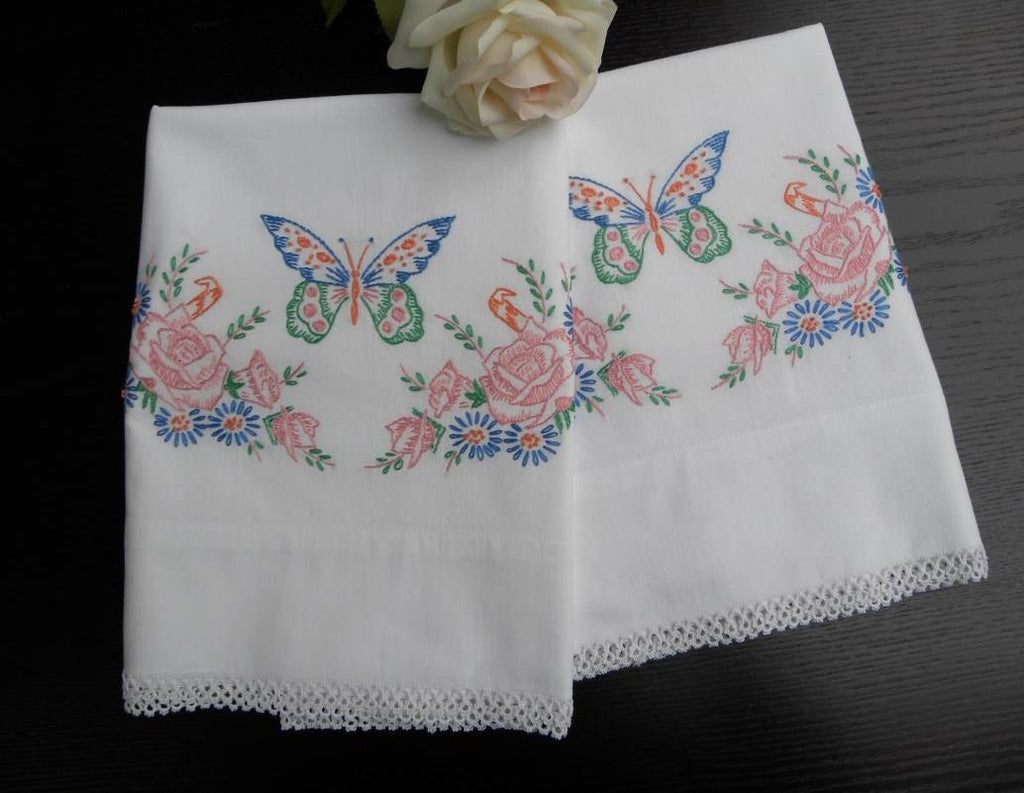 Vintage Embroidered Pink Roses and Butterfly Pillowcases - The Pink Rose Cottage