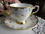 Vintage Tuscan Pastel Flowers Teacup and Saucer - The Pink Rose Cottage
