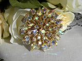 Vintage Aurora Borealis Rhinestone Brooch Pin - The Pink Rose Cottage