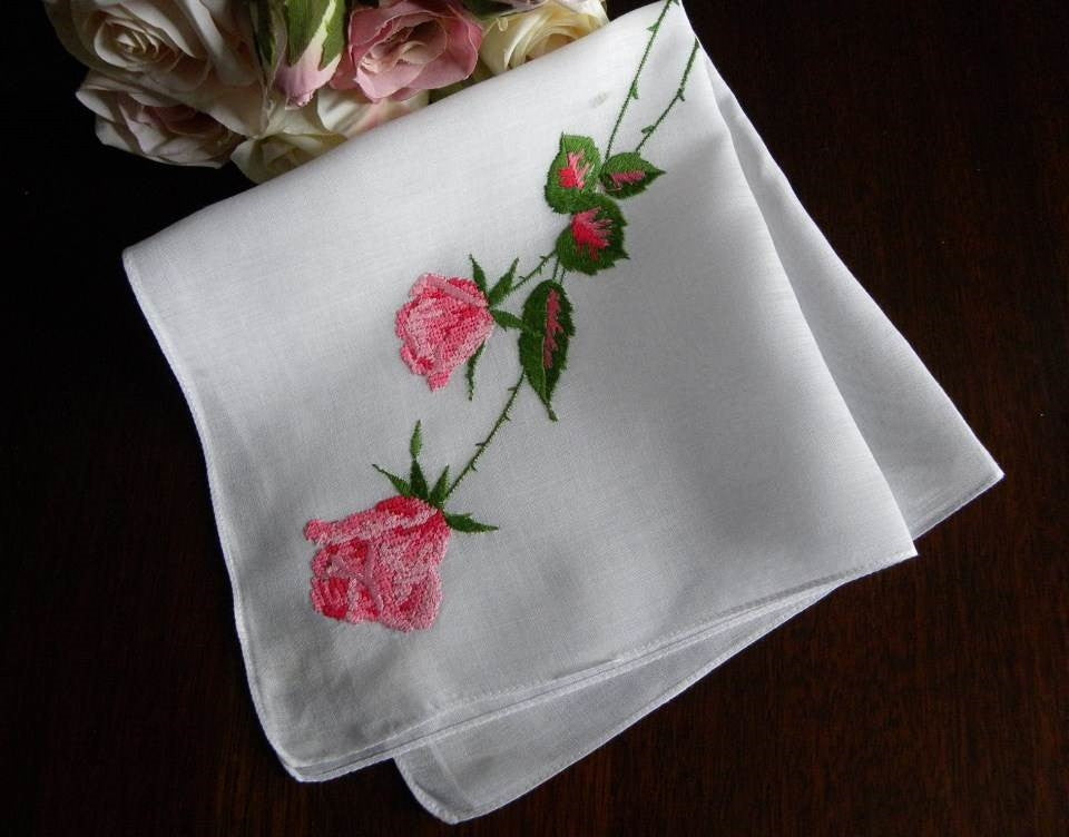 Vintage Long Stem Pink Roses Embroidered Handkerchief