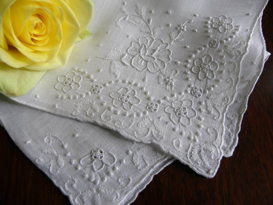 Vintage Embroidered Whitework Floral Linen Bridal Handkerchief - The Pink Rose Cottage