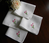 Vintage Embroidered Pink Rose Luncheon or Tea Napkins - The Pink Rose Cottage