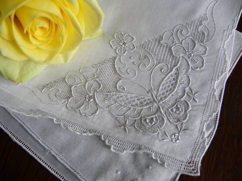 Vintage Embroidered Whitework Butterfly Wedding Handkerchief - The Pink Rose Cottage