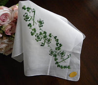 Vintage Tagged Embroidered St. Patrick's Day Shamrock Handkerchief - The Pink Rose Cottage