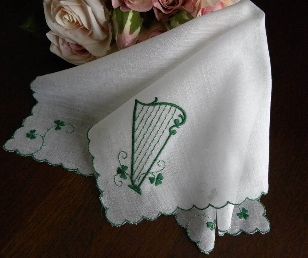 Vintage Embroidered St. Patrick's Day Shamrock and Harp Handkerchief - The Pink Rose Cottage