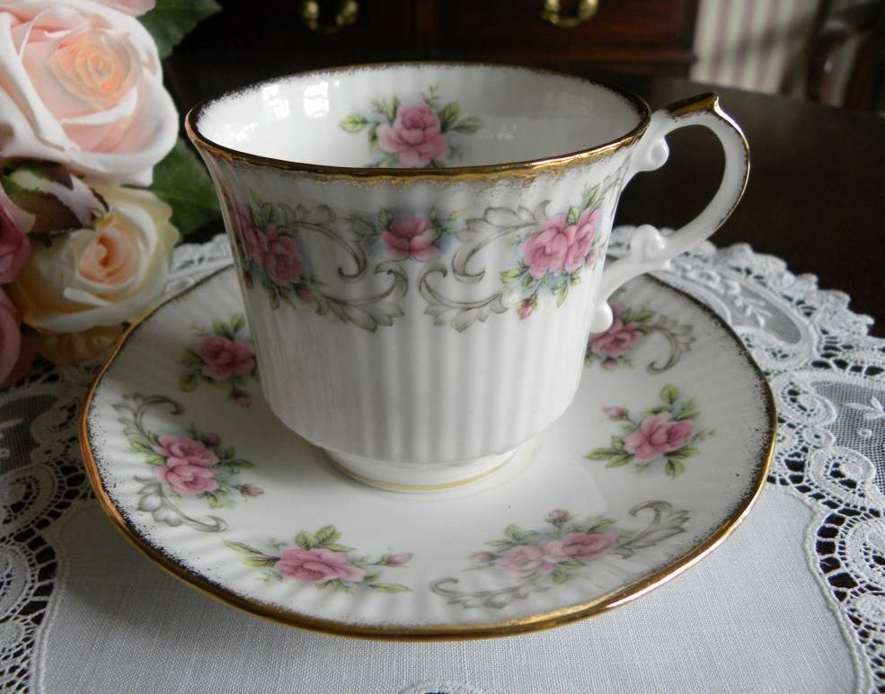 Vintage Royal Dover Pink Rose Teacup and Saucer - The Pink Rose Cottage