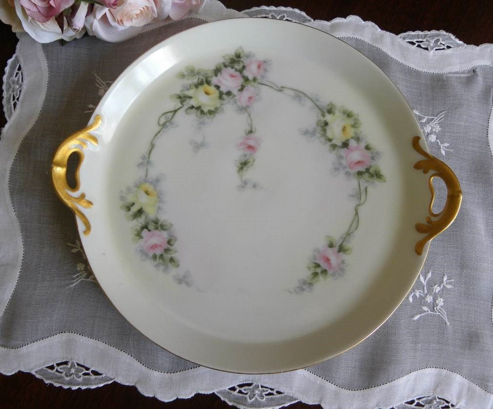 Vintage Hand Painted Pink and Yellow Rose Handled Tray - The Pink Rose Cottage