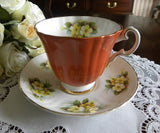 Vintage Royal Grafton Yellow Primrose and Rust Teacup and Saucer - The Pink Rose Cottage