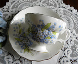 Vintage Blue Forget Me Nots Flower Teacup and Saucer - The Pink Rose Cottage
