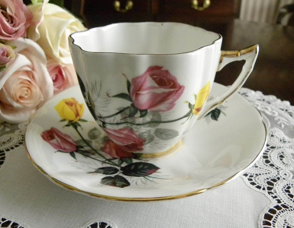 Vintage Royal London Pink and Yellow Roses Teacup and Saucer - The Pink Rose Cottage