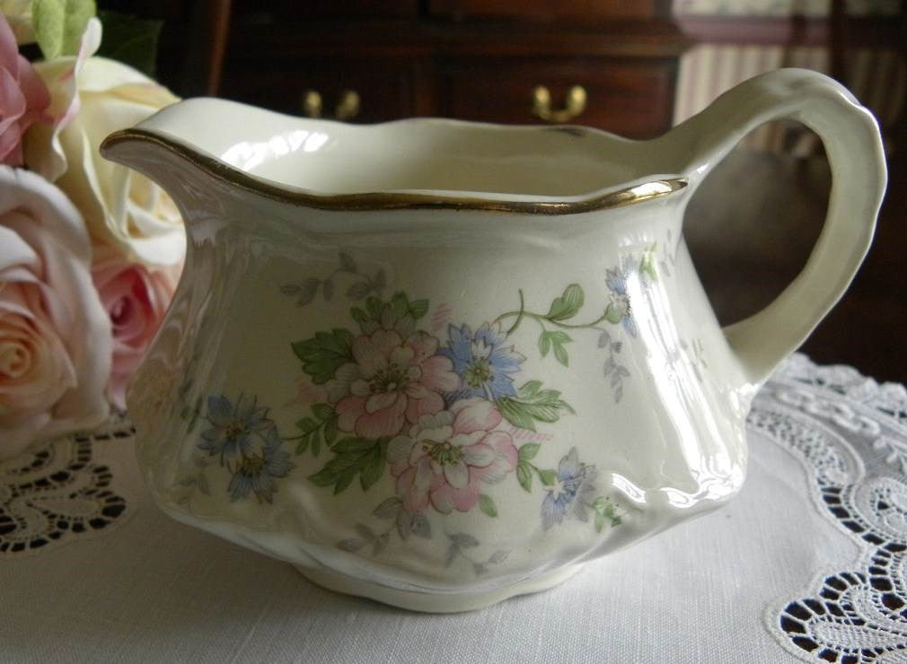 Homer Laughlin Pink and Blue Floral Creamer - The Pink Rose Cottage