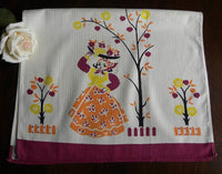 Vintage Broderie Tea Towel Mexican Woman and Fruit - The Pink Rose Cottage