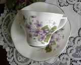 Vintage Cottage Violets Teacup and Saucer - The Pink Rose Cottage